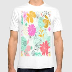 Floral vector pattern best idea MEDIUM Mens Fitted Tee White
