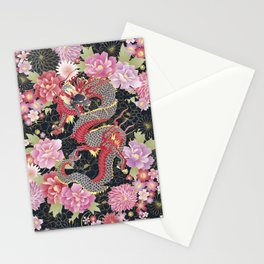 JAPANESE DRAGON & FLORAL KIMONO PRINT Stationery Cards