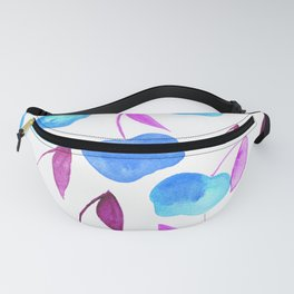Watercolor cherries - blue and purple Fanny Pack