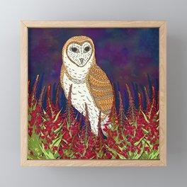 Barn Owl and Fireweed Framed Mini Art Print
