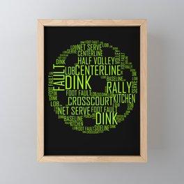 Pickleball Ball Art Words Framed Mini Art Print