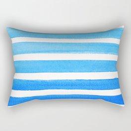 Blue Watercolor Stripes Rectangular Pillow
