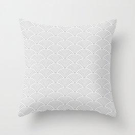 Japanese Waves (White & Gray Pattern) Throw Pillow