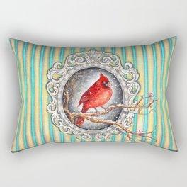 RED CARDINAL in FRAME Rectangular Pillow