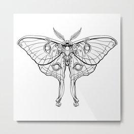 Art Nouveau Moth (white background) Metal Print