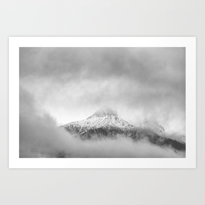 Peak in the clouds Art Print