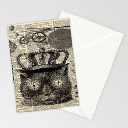 dictionary print steampunk gear halloween spooky black cat Stationery Cards