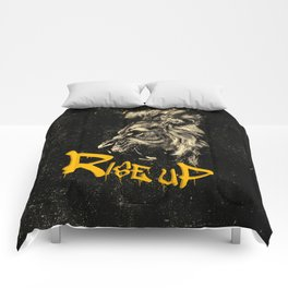 Rise Up - Roaring Lion Revolution Art Comforters