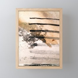 Desert Musings - a watercolor and ink abstract in gray, brown, and black Framed Mini Art Print