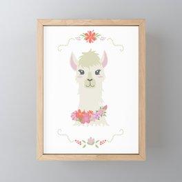 Floral Bust of a Llama Framed Mini Art Print