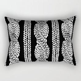 Cable Row Black Rectangular Pillow