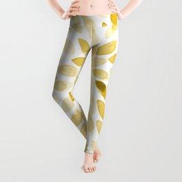 Watercolor brush strokes - yellow Leggings