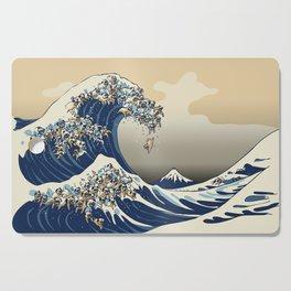 The Great Wave of Pugs Vanilla Sky Cutting Board