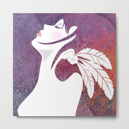 Lady with Feathers Metal Print
