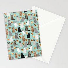 Cats with Pizza slices cheesy food funny cat lover gifts by pet friendly pet portraits Stationery Cards