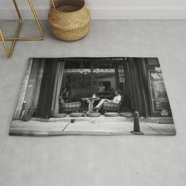 Morning coffee in a cafe - Black and white street photography Rug