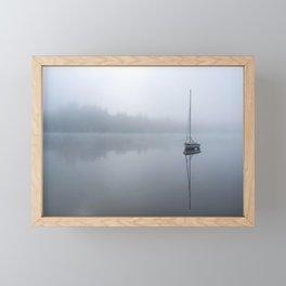 Foggy Lake with Boat Framed Mini Art Print