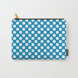 White and blue polka dots Carry-All Pouch