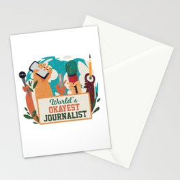Worlds Okayest Journalist Journalism Writer Gift Stationery Cards