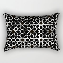 white oriental pattern on black background - seamless pattern traditional morocco style Rectangular Pillow