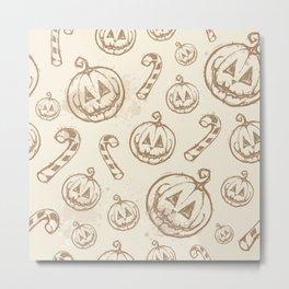 Vintage Halloween Pattern Metal Print