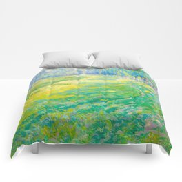 Václav Radimský (1867-1946) On the Dike Colorful Impressionist Landscape Oil Painting Comforters