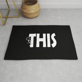 Fuck THIS Humping Stickman White Typography Sarcasm Humor Rug