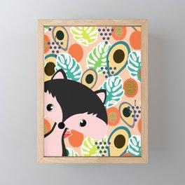 Fox, leaves and tropical fruits Framed Mini Art Print