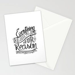 Everything happens for a reason black & white Stationery Cards