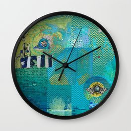 Afterlife Abstract Art Collage Wall Clock