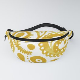 Handpainted Paisley Pattern Golden Yellow Color Fanny Pack