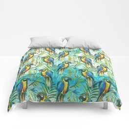 Watercolor blue yellow tropical parrot bird floral Comforters