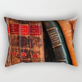 Rustic Antique Library Books Shelf Rectangular Pillow