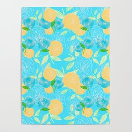 06 Yellow Blooms on Blue Poster