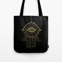 Hamsa Hand Gold on Black #1 #drawing #decor #art #society6 Tote Bag