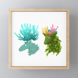 Coral deer -  Blue and kelp Framed Mini Art Print