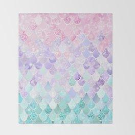 Mermaid Pastel Iridescent Throw Blanket