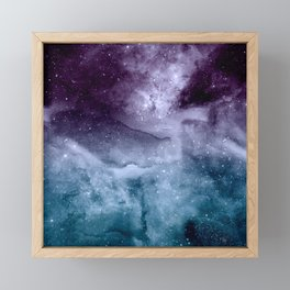 Watercolor and nebula abstract design Framed Mini Art Print