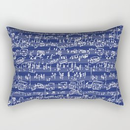 Hand Written Sheet Music // Midnight Blue Rectangular Pillow