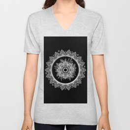 Bohemian Lace Paisley Mandala White on Black Unisex V-Neck