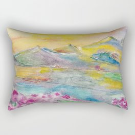Sunset in the mountains. Watercolor painting Rectangular Pillow