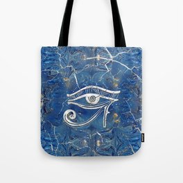 Silver Egyptian Eye of Horus  on blue marble Tote Bag