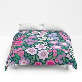 Cute flower pattern design drawing with watercolor on floral navy Comforters