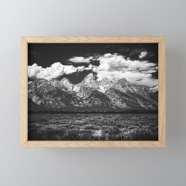 Mountain Summer Escape - Black and White Tetons Framed Mini Art Print