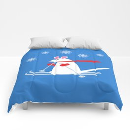 Christmas Mouse on Skis Comforters