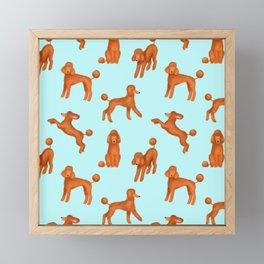 Red Poodles Pattern (Light Blue Background) Framed Mini Art Print