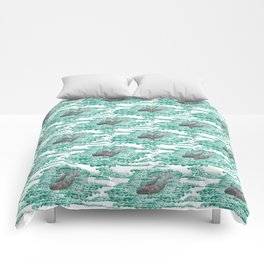 Mama + Baby Gray Whale in Ocean Clouds Comforters