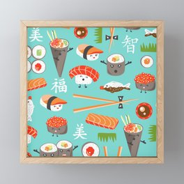 Happy Sushi Framed Mini Art Print