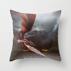 Smaug Burns Lake-Town Throw Pillow