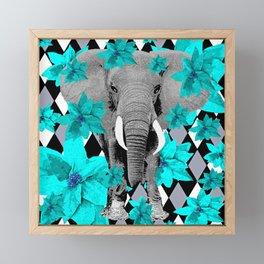 ELEPHANT and HARLEQUIN BLUE AND GRAY Framed Mini Art Print